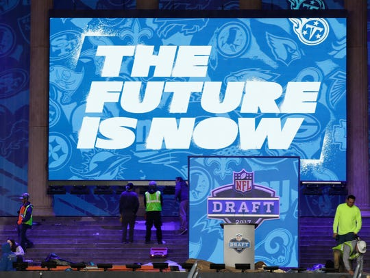 Workers make preparations ahead of the 2017 NFL draft