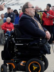Gary May, president of Veterans for Peace, speaks to