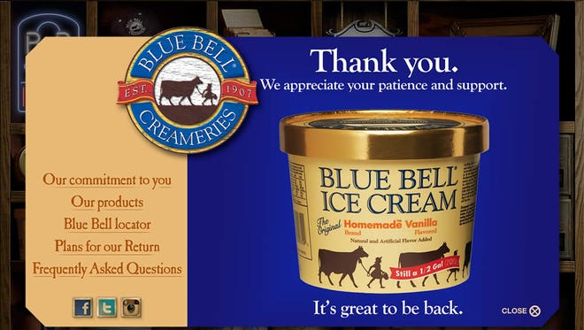 Blue Bell Ice Cream's website provides updates on when the legendary ice cream is returning to market as the brand rebuilds from a food-poisoning scandal. But Kentucky consumers won't see the brand back in Kroger stores until 2016
