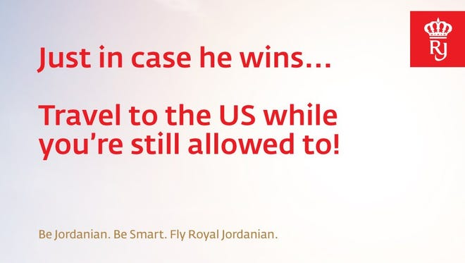 Royal Jordanian sent out this ad via Twitter ahead of the U.S. election on Nov. 8, 2016.