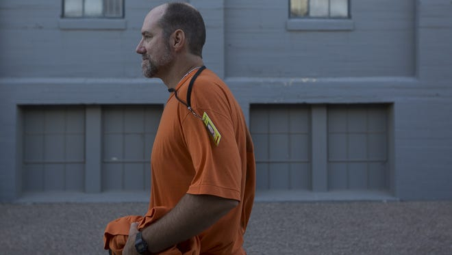 Richard Greenway, a death-row inmate, walks through the Arizona State Prison Complex-Florence on Nov. 22, 2017. Greenway was sentenced to death row in 1989 for the murder of a mother and daughter during a burglary of their home.