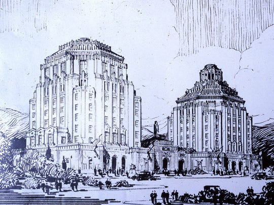 Douglas Ellington's original drawing for a City Hall-County Courthouse complex in the art deco style.