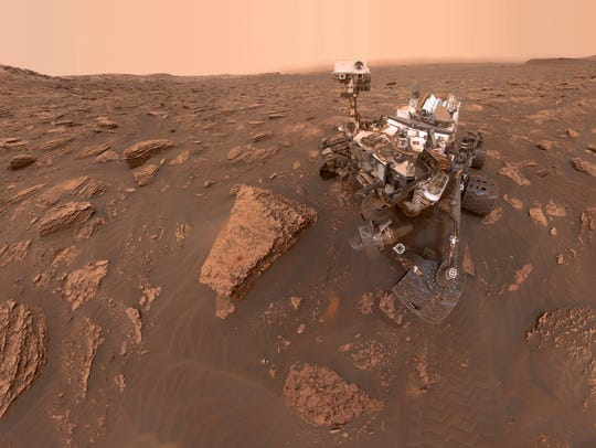 This composite image made from a series of June 15, 2018, photos shows a self-portrait of NASA's Curiosity Mars rover in the Gale Crater.