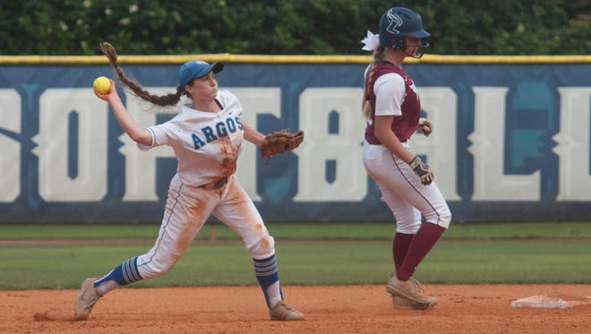 University of West Florida's Rhiannon Sassman, (No. 24) takes the grounder to short and makes the throw to first for an easy out during Thursday's Super Regional Game one against Lee University.