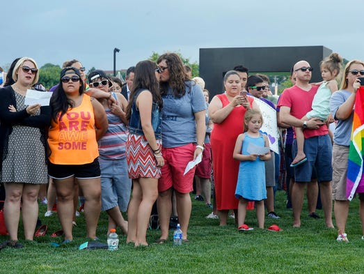 Hundreds gathered to show support for the LGBTQ community