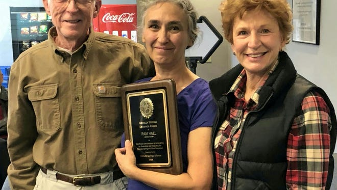 Jim Stevenson (left, former chief naturalist for Florida State Parks), Dr. Pam Hall (center, 2018 Wakulla Springs Champion Award Recipient), and Debbie Lightsey (right, the longest-serving commissioner in Tallahassee history, now honored by a 113-acre park, the Lightsey Nature Park).