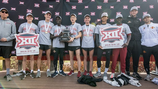 The Iowa State men's cross country team, after winning a second consecutive Big 12 title.