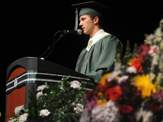 Spackenkill High School valedictorian Brian Zeoli addresses his fellow graduates during commencement Saturday at the Mid-Hudson Civic Center in Poughkeepsie.