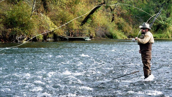 Fly fisherman Dave Roberts fishes the Upper Rogue River near Trail, Ore.