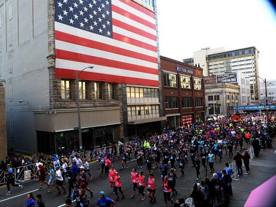 December 2, 2017 - Marathon runners partake in the