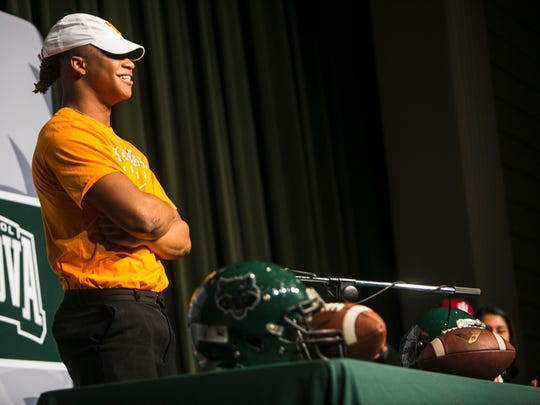 December 20, 2017 - Cordova football player Jeremy Banks (running back) poses for photos during National Early Signing Day at Cordova High School on Wednesday morning. Banks signed a national letter of intent to play for the University of Tennessee.