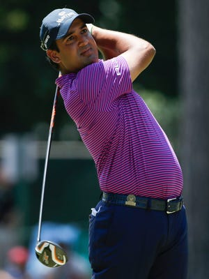 Shiv Kapur tees off on the third hole during the final round of the 2014 U.S. Open at Pinehurst Resort Country Club - #2 Course, June 15, 2014.