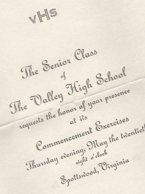 Valley High School Commencement invitation.