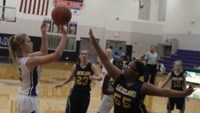 CHCA's Paige Gear puts up a jumper against Lockland.