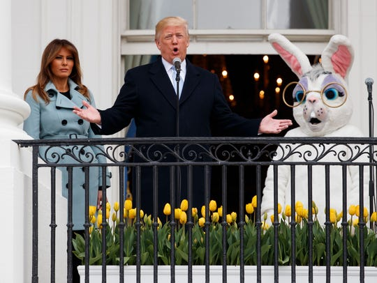 President Donald Trump, joined by the Easter Bunny