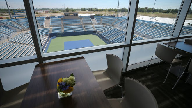 The First Financial 1899 Room, a split-level room hosting a restaurant and bar, which opens up to a cascading indoor box seats at the new $25 million South Building at the Lindner Family Tennis Center, pictured, Thursday, July 19, 2018, in Mason, Ohio, will open for the 2018 Western & Southern Open tennis tournament.