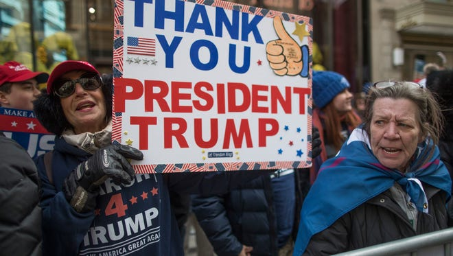 Supporters of President Donald Trump chant during a March 4 Trump rally on Fifth Avenue near Trump tower on Saturday.