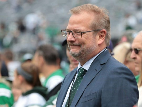 Oct 14, 2018; East Rutherford, NJ, USA; New York Jets general manager Mike Maccagnan looks on before the game between the New York Jets and the Indianapolis Colts during the second half at MetLife Stadium. Mandatory Credit: Vincent Carchietta-USA TODAY Sports