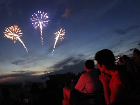 Fireworks burst in the sky.