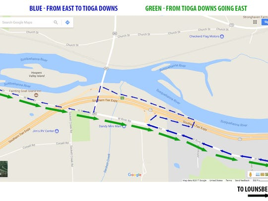 Detours were put in place to help access Tioga Downs.