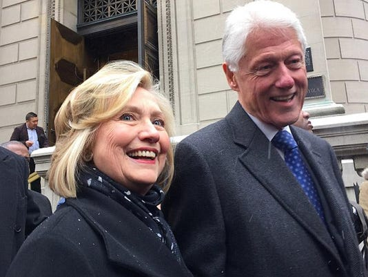 Bill and Hillary Clinton attends Mario Cuomo's funeral in New York