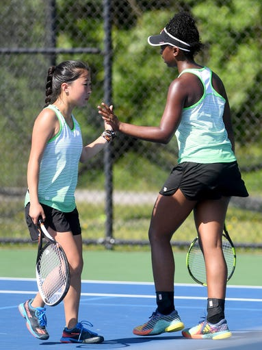 L&N STEM's Abbey Lee and Armani Hall give each other