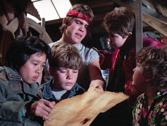 "A scene from the 1985 film ""The Goonies."" From left"
