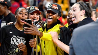 Behind 30 points from Finals MVP Breanna Stewart, the Storm completed a three-game sweep of the Mystics for the third WNBA championship in franchise history.