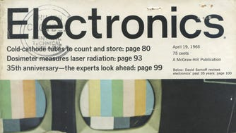 "The cover of the Electronics Magazine in which Gordon Moore first published his ""Moore's Law,"" which predicted the computer chip processing speeds would double every year."