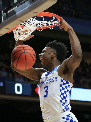 Kentucky's Hamidou Diallo slams down two in the first half of the Wildcats' game against Davidson in their NCAA first round game in Boise, Idaho Thursday, March 15, 2018.