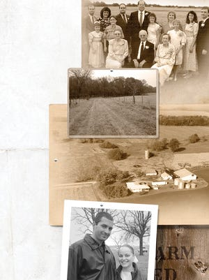 From the top: A wheat field served as the backdrop for a family photo at the wedding of Carol Hunter and Tom Perry in early June 1989. A dirt road leads to timber and a creek. An aerial photo taken Oct. 29, 1982. Wayne and Linda Bontrager of rural Kalona, Ia., bought Laneview Farm, where they plan to raise their family.