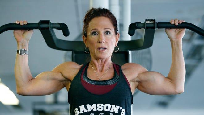 Bodybuilder Beth Mandyck, 55, trains at Samson's Powerhouse Gym.