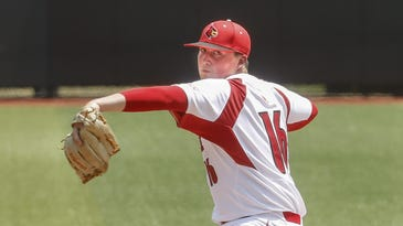 Louisville's Kyle Funkhouser was the starting pitcher for the Cards game against Cal State Fullerton. June 6, 2015