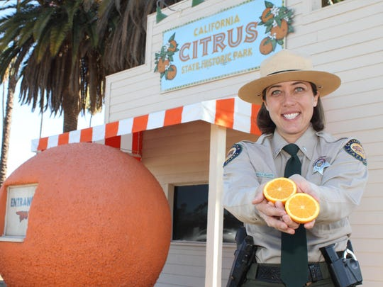 "An old-fashioned ""orange stand"" signals the California Citrus State Historic Park, a step back into the early 1900s."