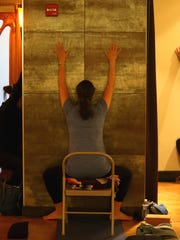 Reporter Victoria Freile gives prenatal yoga a try at Midtown Athletic Club.