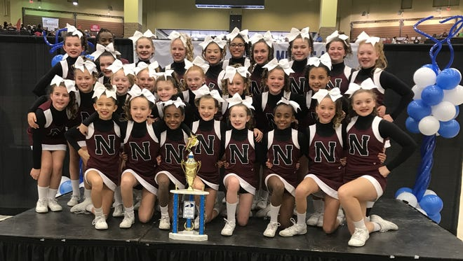 North Middle School Cheer placed placed 4th out of 16 teams at a state competition.