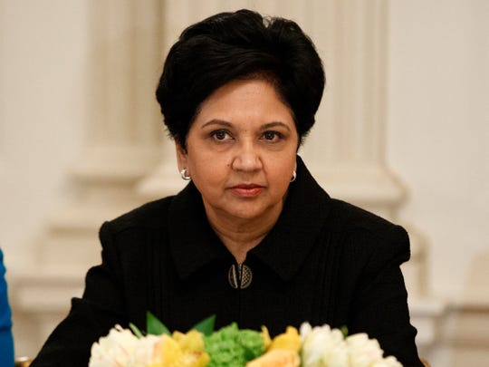 FILE- In this Feb. 3, 2017, file photo, PepsiCo CEO Indra Nooyi listens during a meeting between President Donald Trump and business leaders in the State Dining Room of the White House in Washington. Topping the list of highest-paid female CEOs on the list is Nooyi, whose compensation was valued at $25.9 million. (AP Photo/Evan Vucci, File)