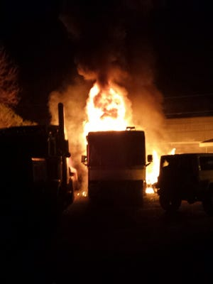 A motor home in the 100 block of Dairyman Road in Scott catches on fire. The Scott Volunteer Fire Department controlled the blaze Monday and prevented it from spreading to nearby property.