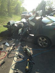 The aftermath of Mady's car after her head-on collision on Ohio 180 on May 8.
