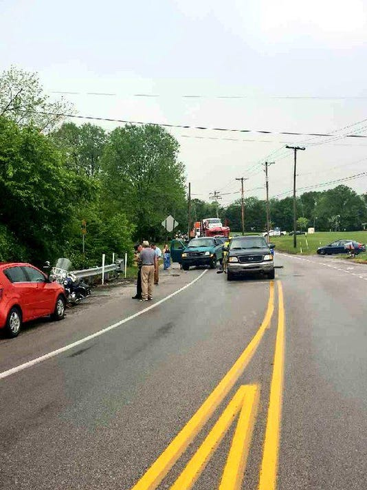A four-vehicle crash on Monday evening has closed Roosevelt Avenue at Kenneth Road.