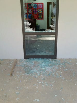 A smashed window at Killearn Lakes Elementary School. The Leon County Sheriff's Office is investigating a break-in at the school and Deerlake Middle School.