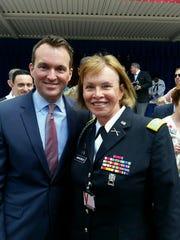 Retired Col. Sheri Swokowski with Secretary of the