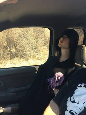 A California driver tried to outsmart police last week by using a mannequin so he could drive in the carpool lane.   The Brea Police Department posted a picture of a white female mannequin donning a black t-shirt and riding shotgun in a man's pickup truck on Sept. 22.