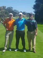 Brandon Donor (center) stands with Peter UIeberroth and UIeberroth's son. Donor represented The First Tee of The Palm Beaches at the Nature Valley First Tee Open at Pebble Beach in September.