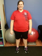Kristen Meeker before her journey that led her to lose 93 pounds between January and November of 2015.