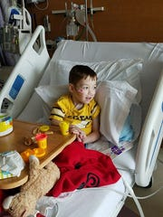Roger Logsdon, 6. is a patient at Golisano Children's Hospital recovering from surgery in mid-August 2017.