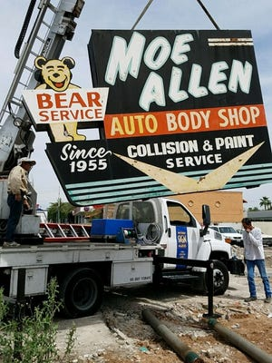 "The ""happy bear"" sign, which advertised the Moe Allen Auto Body Shop at 3325 N. 16th St. in Phoenix since 1955, will be featured in the Ignite Sign Art Museum in Tucson, said Jude Cook, owner of Cook & Co. Signmakers."