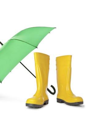 Umbrella and rain boots.