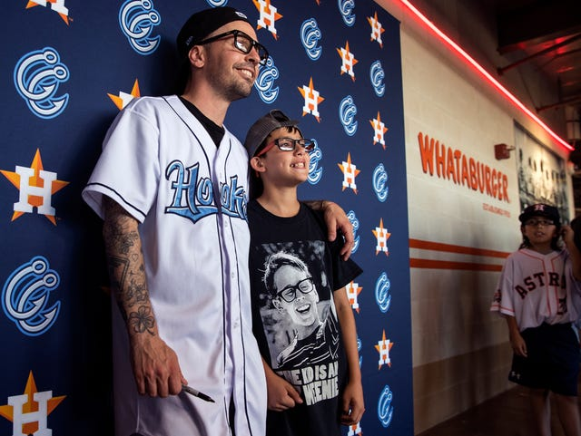 Squints from The Sandlot greets fans at Whataburger Field