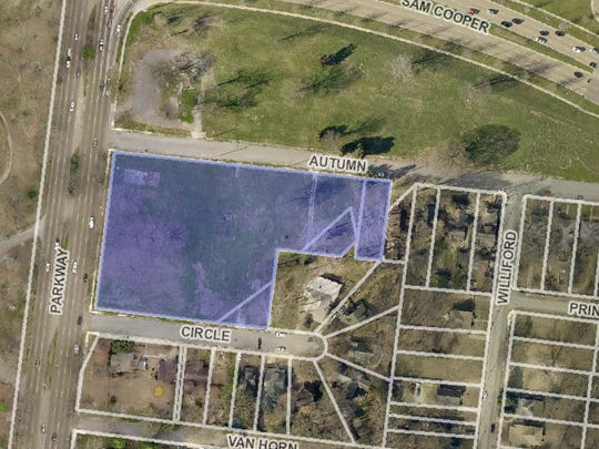 Three vacant acres (shaded area) that were cleared
